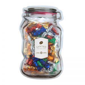 Metallic Bonbons im Maxi-Beutel in Weckglas-Form mit Werbeetikett
