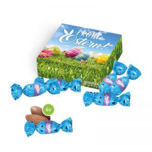 Milka feine Alpenmilch-Eier Präsent in einer Werbekartonage