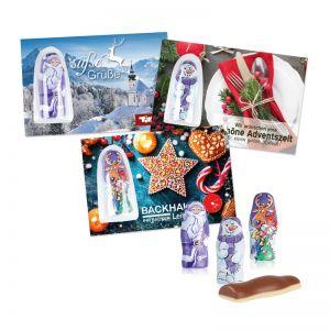 Milka Weihnachtsfiguren auf Werbekarte mit Logodruck