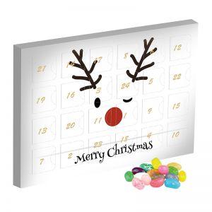 Mini Adventskalender mit Jelly Beans Sauer-Mix und Werbedruck