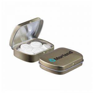 Mini Klappdeckeldose mit individuellen Pfefferminzpastillen und Logodruck