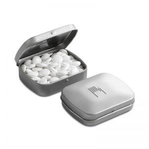 Mini Klappdeckeldose mit Pfefferminzpastillen und einer Prägung