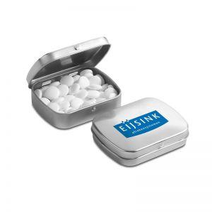 Mini Klappdeckeldose mit Pfefferminzpastillen und mit Logodruck