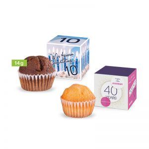 Mini Muffin im Werbewürfel mit Logodruck