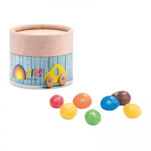Mini Papierdose M&M´s Peanuts mit Papieretikett und Logodruck