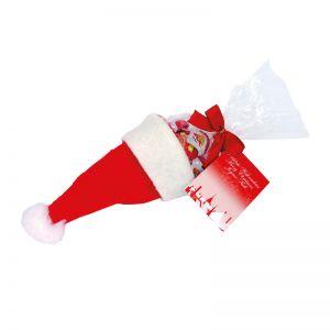Nikolaus-Mütze mit Schoko-Weihnachtsmännern und Werbekarte