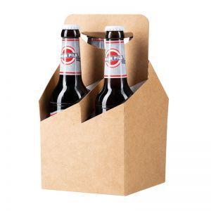 Nordisches Pilsener mit Werbeetikett im 4er Flaschenträger
