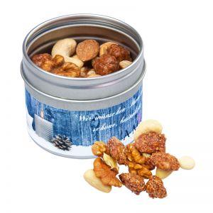 Nuss-Mix Dose mit gebrannten Erdnüssen und Werbe-Etikett
