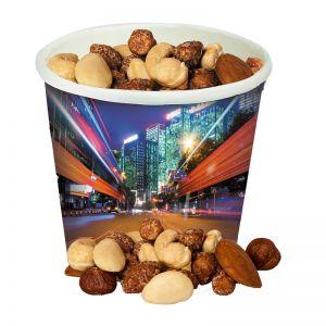NussMix mit gebrannten Erdnüssen im Snack-Becher mit Werbedruck