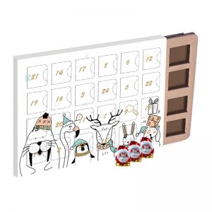 Ökologischer Adventskalender mit Weihnachtswichteln aus Bio-Schokolade