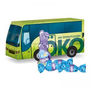 Oster Bus Milka mit Werbedruck
