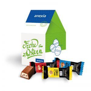 Oster Häuschen Lindt HELLO Mini Sticks mit Werbebedruckung