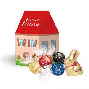 Oster Häuschen Lindt Schokoladenmischung mit Werbebedruckung