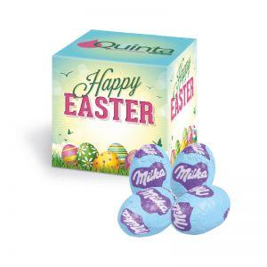 Oster-Werbewürfel mit Milka Schoko-Eier und Logodruck