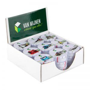 POS Displaybox mit 27 Pfefferminzdosen und Werbeetikett