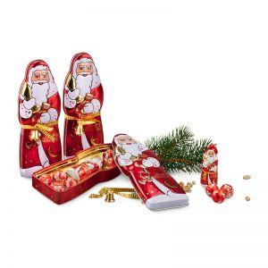 Präsent Weihnachtsmann-Metalldose mit Lindt Schokolade