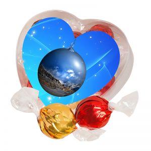 Pralinen in Herz-Box mit Werbe-Etikett und Logodruck