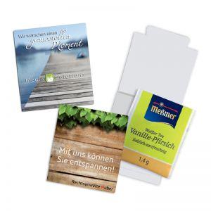 Premium Tee im Werbebriefchen mit Logodruck