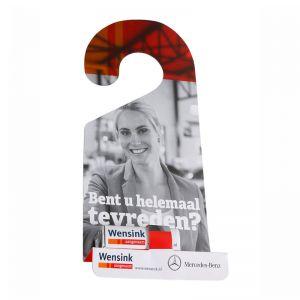 Rückspiegel- Türanhänger mit Pfefferminzriegel und Werbebedruckung