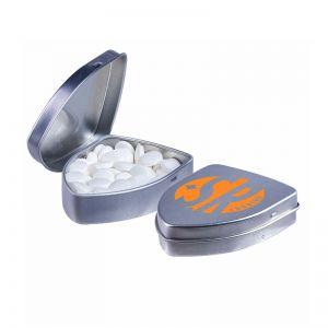 Schildförmige Dose mit Pfefferminzpastillen und mit Logodruck
