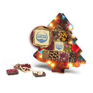Schokini Weihnachtsbaum mit Logodruck auf der Schokolade