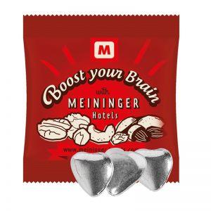 Schoko-Herzen mit Silberglasur im Werbetütchen mit Logodruck