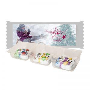 Schoko Schneemänner im Tray mit Werbe-Etikett und Werbedruck