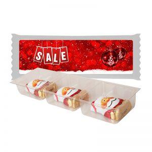 Schoko Weihnachtswichtel im Tray mit Werbe-Etikett mit Werbedruck