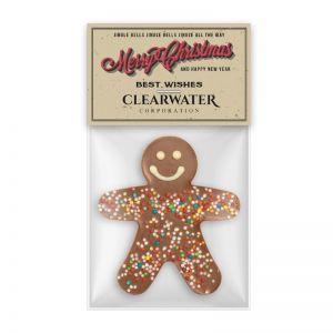 Schokoladen Männchen mit Werbereiter und Logodruck