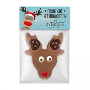 Schokoladen Rudolph mit Werbereiter und Logodruck