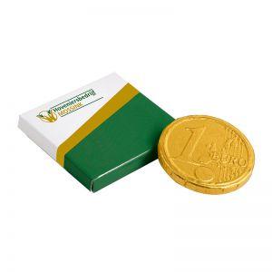 Schokoladenmünze in Faltschachtel mit Werbedruck