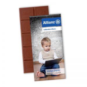 Schokoladentafel Excellence von Lindt mit Werbekartonage mit Logodruck