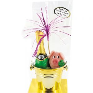 Sektkübel mit Sektflasche und Schwein