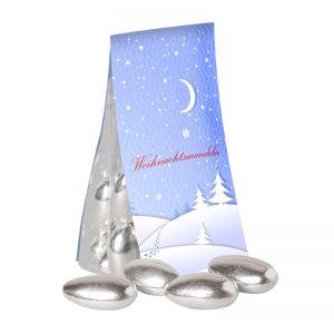 Silber Mandeln in Standbeutel mit Werbereiter und Logodruck