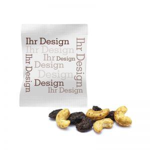 Snacks in Premium Flowpack mit individuellen Werbedruck