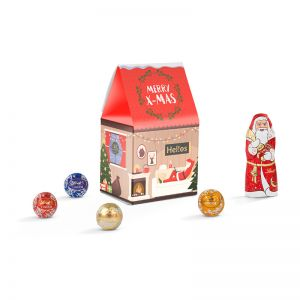 Standbodenbox mit Lindt Weihnachtsschokolade und Werbedruck