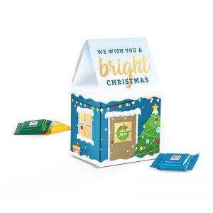 Standbodenbox mit Ritter SPORT Weihnachtsschokolade und Werbedruck