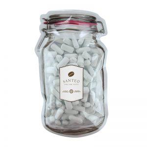 Süße Schulkreide im Maxi-Beutel in Weckglas-Form mit Werbeetikett