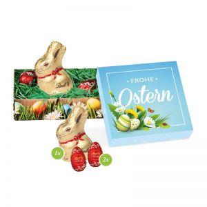 Süßer Ostergruß im Werbekarton mit Logodruck