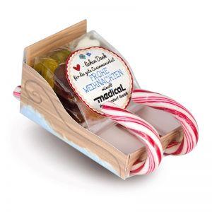 Süßer Schlitten mit individuell bedruckbarem Etikett