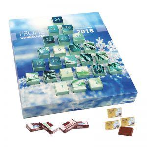Tannenbaum Adventskalender mit Schoko-Naps und Logodruck
