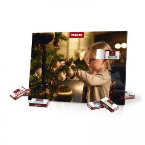 Tisch-Adventskalender mit Fairtrade Sarotti Schokolade und Werbedruck