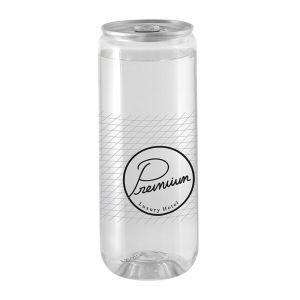 Transparente Werbedose mit Energy Drink still und mit Logodruck