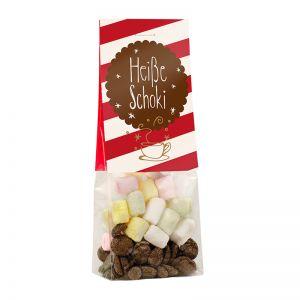 Trinkschokolade im Standbeutel mit Werbereiter