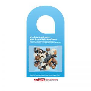 Türhänger mit 15 g Bio Studentenfutter und Logoaufdruck