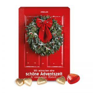 Wand-Adventskalender Lindt Schokoladen-Herzen mit Werbedruck