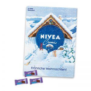 Wandadventskalender Milka Schokolade mit Werbedruck