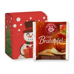 Weihnachts-Beuteltee Süßer Bratapfel in einer Faltschachtel mit Werbedruck