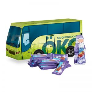 Weihnachts-Express Bus Milka mit Werbebedruckung