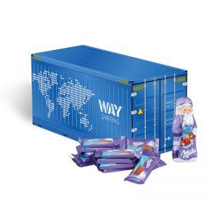 Weihnachts-Express Container Milka mit Werbebedruckung